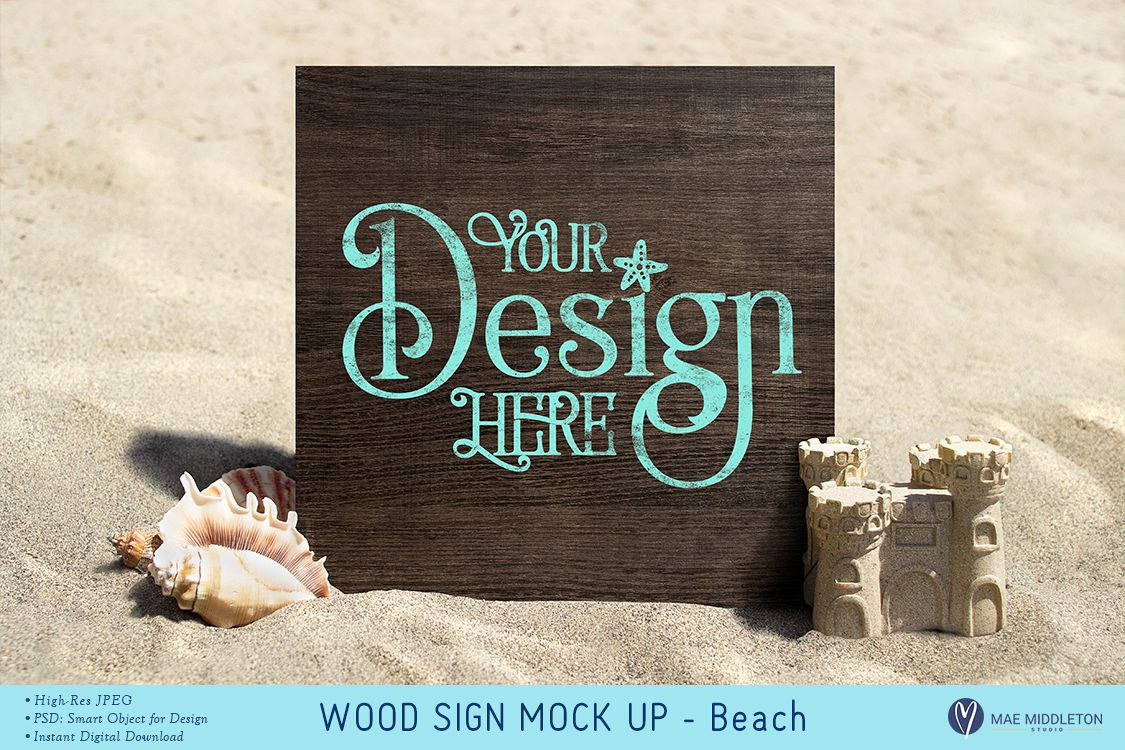 Wood Sign at the Beach Mock up example image 1