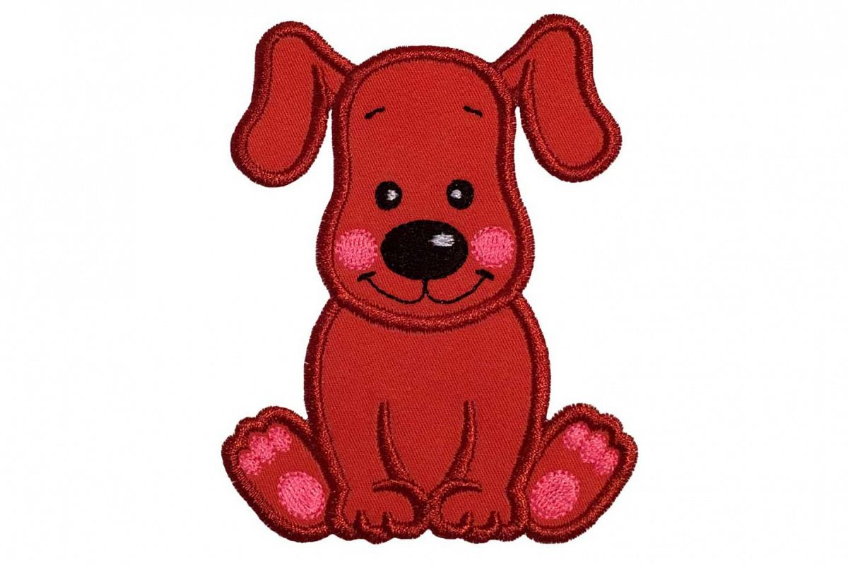 Dog machine embroidery applique design