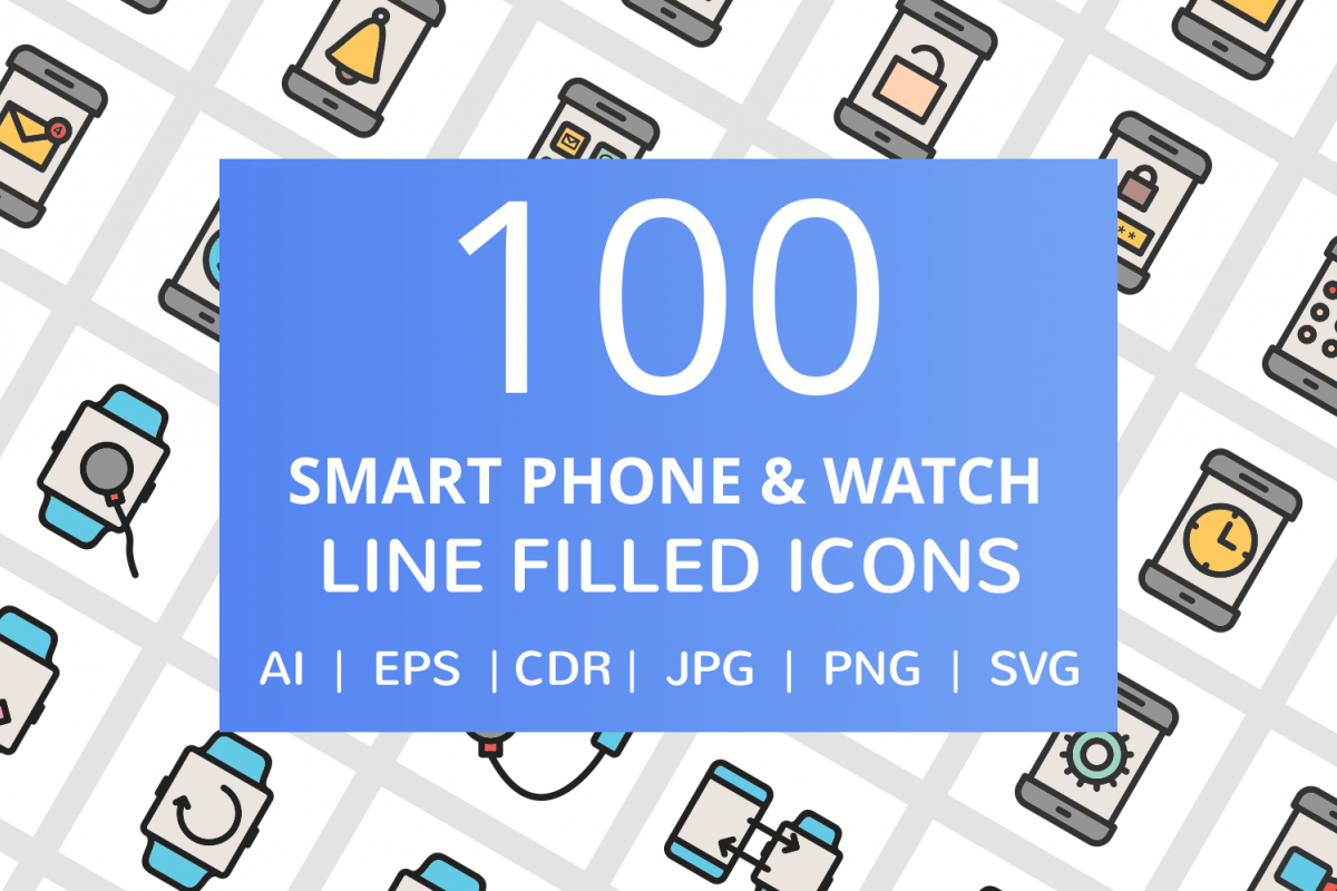 100 Smartphone & Smartwatch Filled Line Icons example image 1