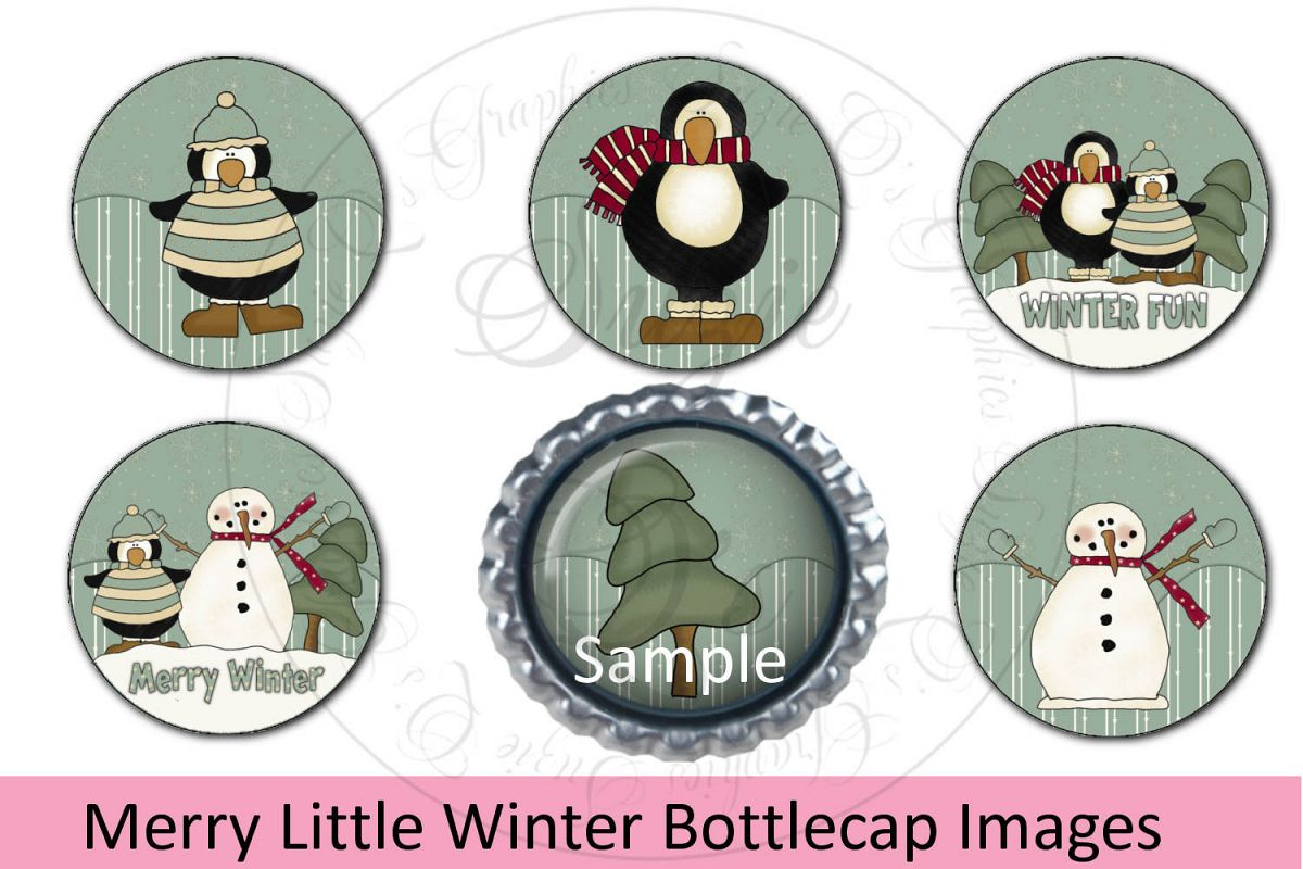 Merry Little Winter Bottlecap Images, Labels example image 1