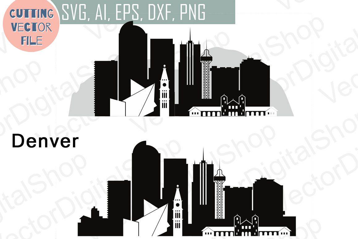 Denver Vector, Colorado Skyline USA city, SVG, JPG, PNG, DWG, CDR, EPS, AI example image 1