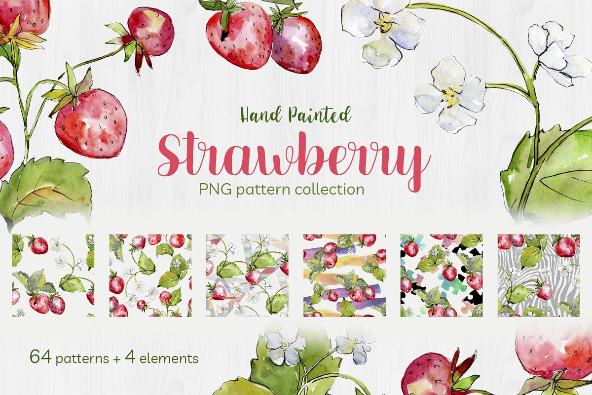 Sweet Watercolor Strawberry PNG example image 1