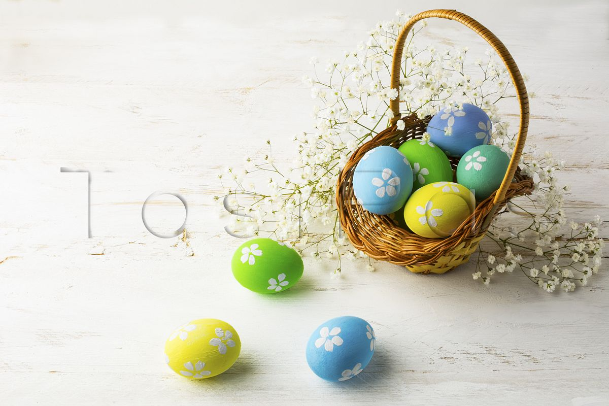 Decorated Easter eggs in the basket  example image 1