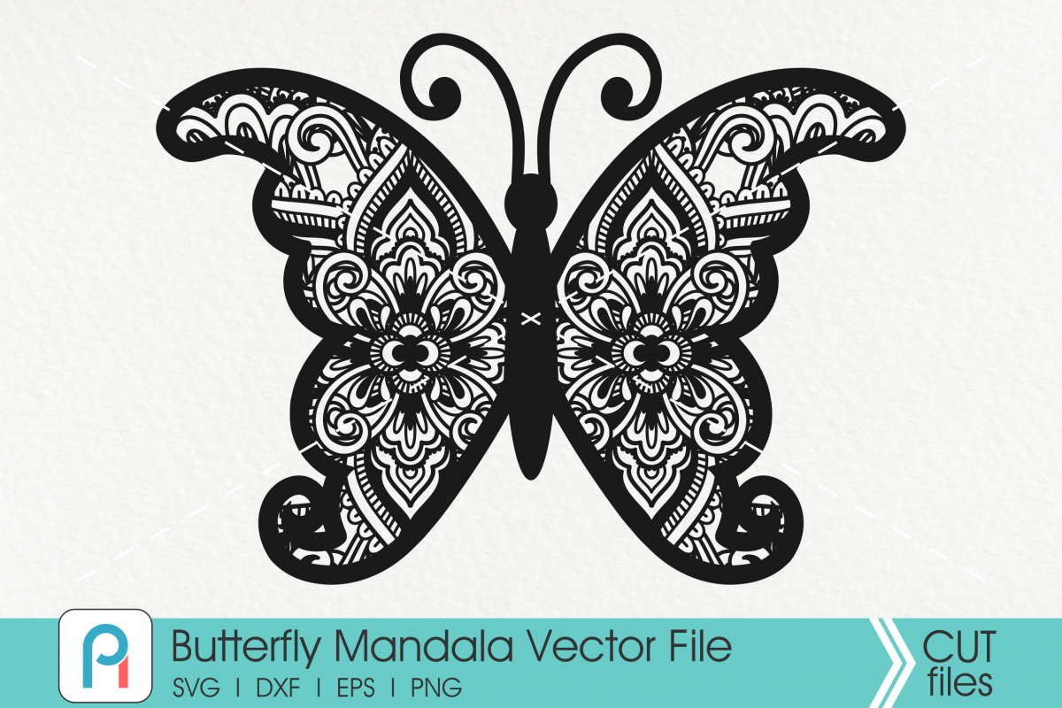 Butterfly Mandala Svg, Butterfly Svg, Mandala Svg,Flower Svg example image 1