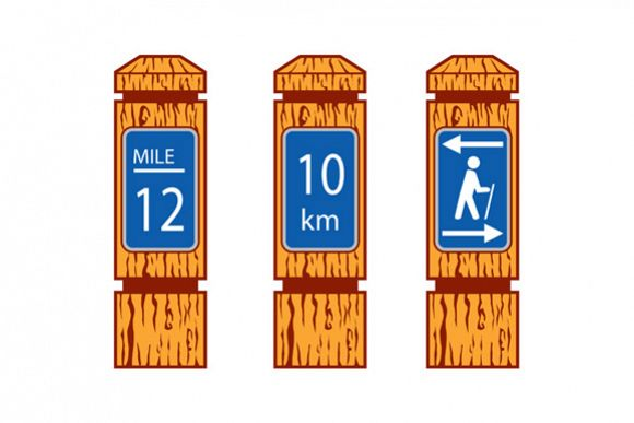 Wooden Mile Marker Signs Retro example image 1
