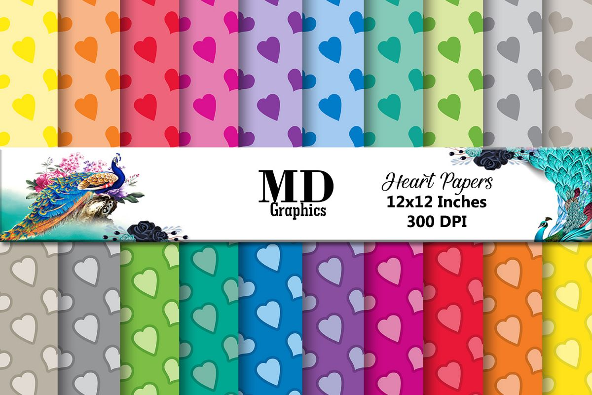 Heart Digital Papers,Scrapbook Heart,Digital Scrapbook Paper example image 1