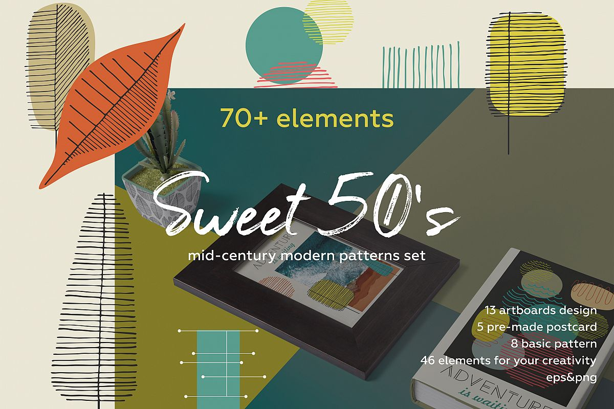 Fall in retro 50's! Vintage hand drawn patterns set example image 1