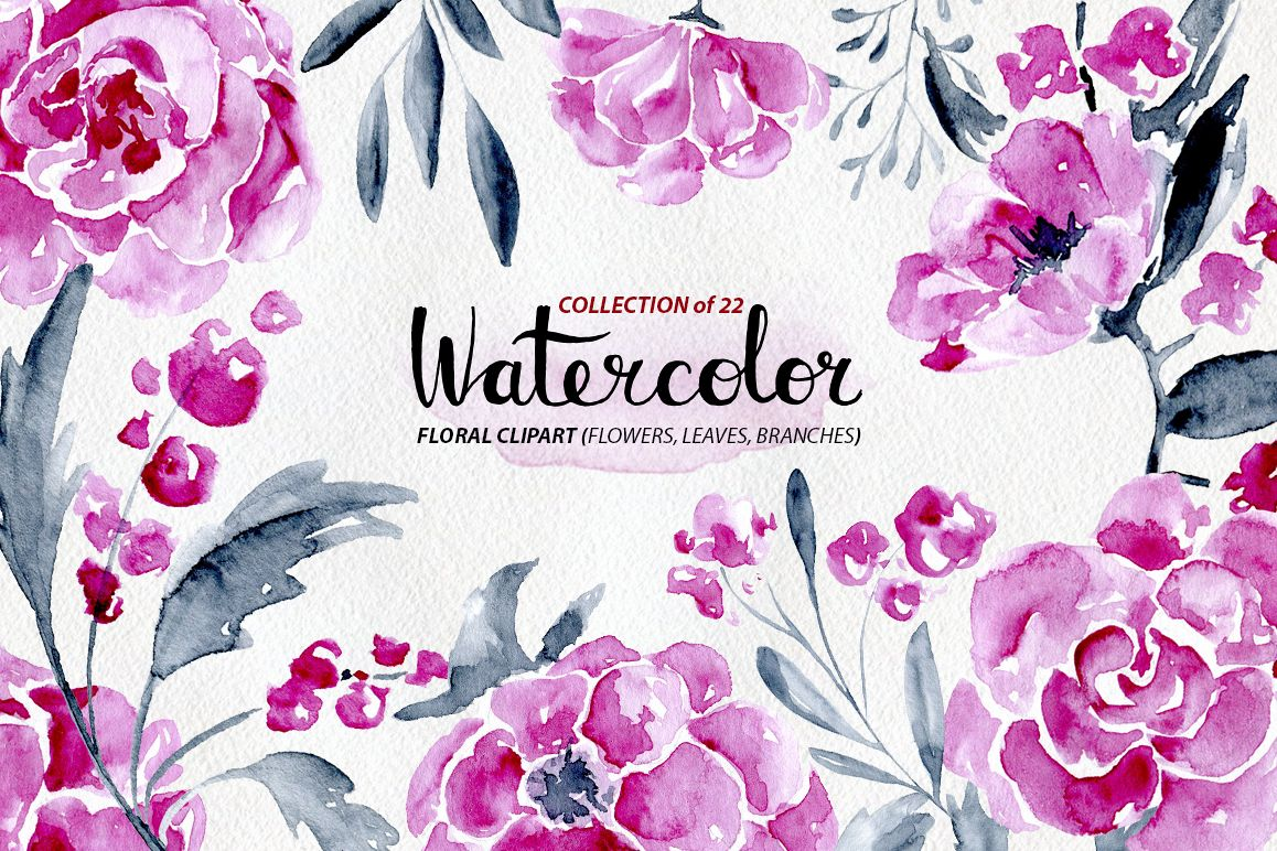 22 watercolor flowers: roses, peony example image 1