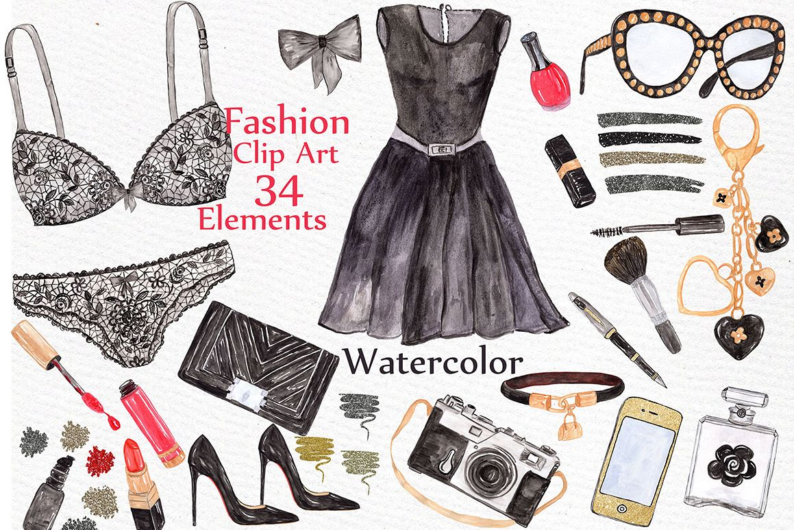 Watercolor fashion clipart example image 1