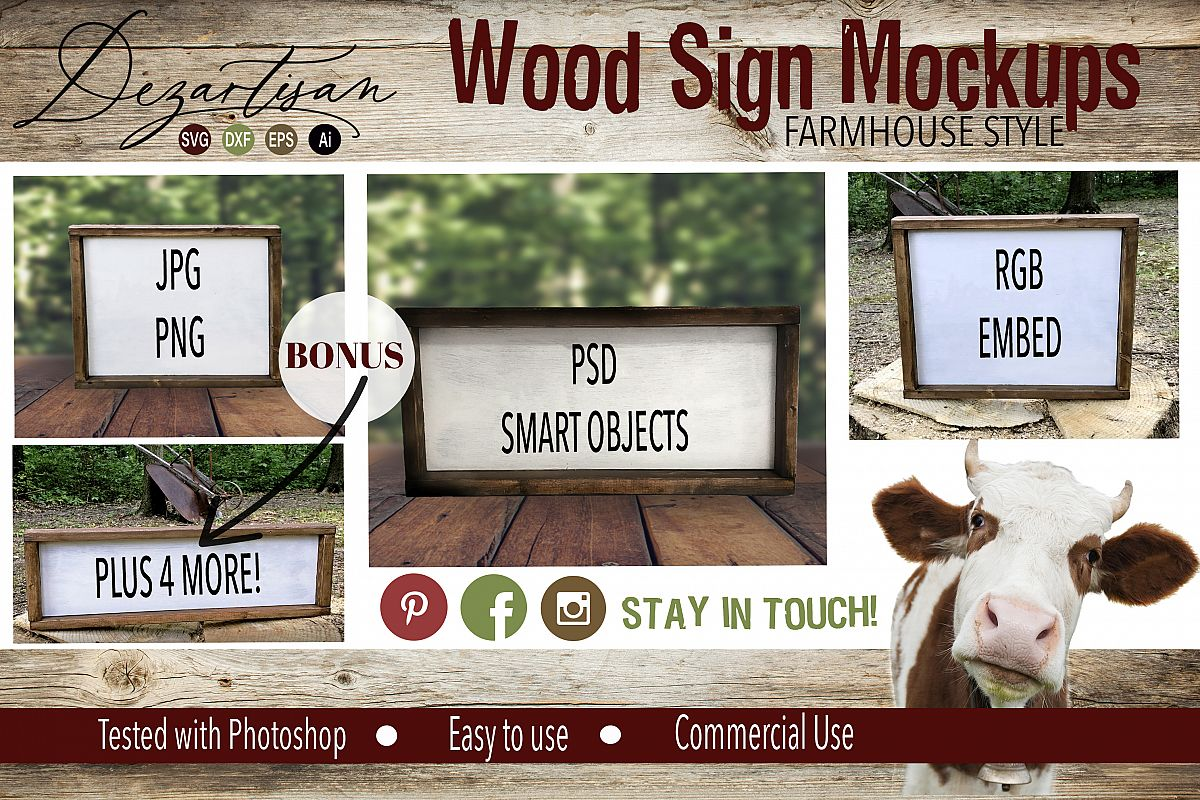 Farmhouse Style Wood Sign Mock up Bundle PSD JPG PNG example image 1