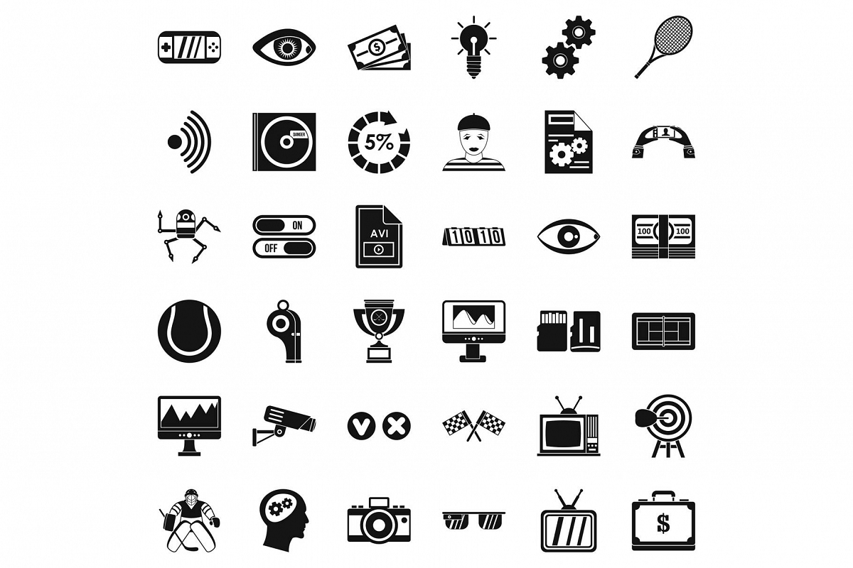 Video film icons set, simple style example image 1