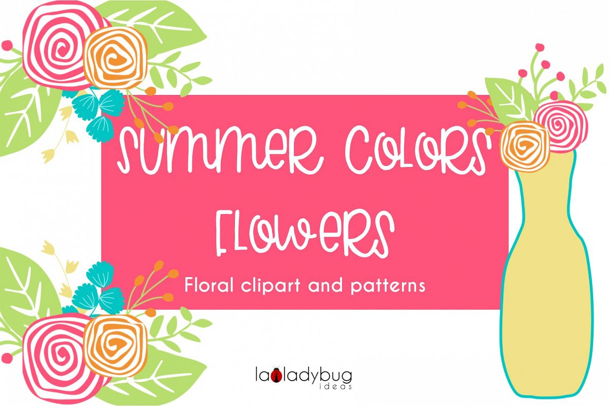 Summer colors flowers. Clip art and digital papers collection. example image 1