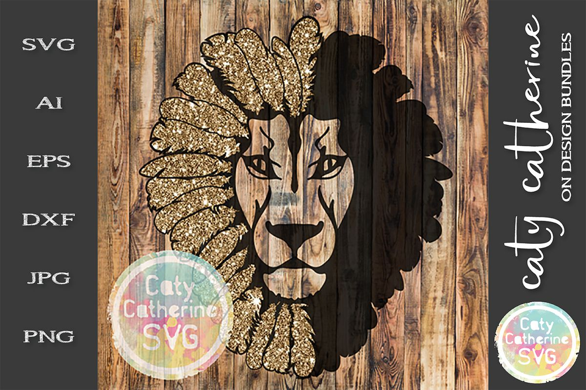Lion Head SVG Face Feathers example image 1