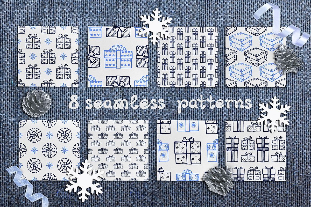 8 hand drawn seamless patterns with Christmas gift boxes example image 1
