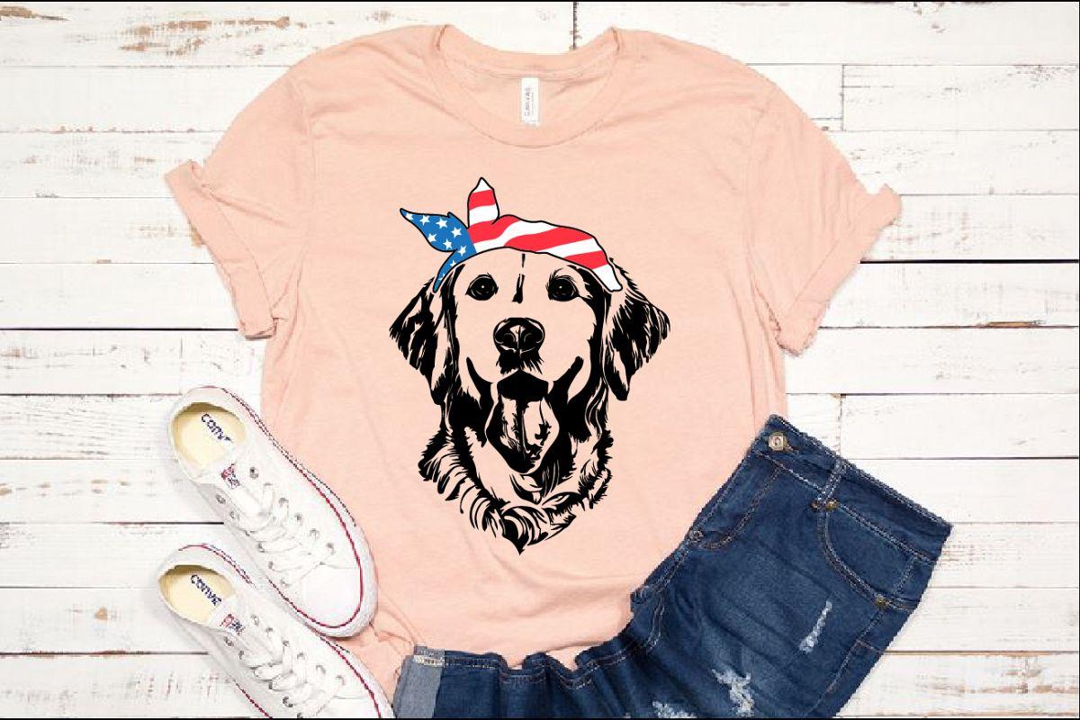 Lab SVG Labrador USA Bandana Head Dog 4th July Breed 1374s example image 1