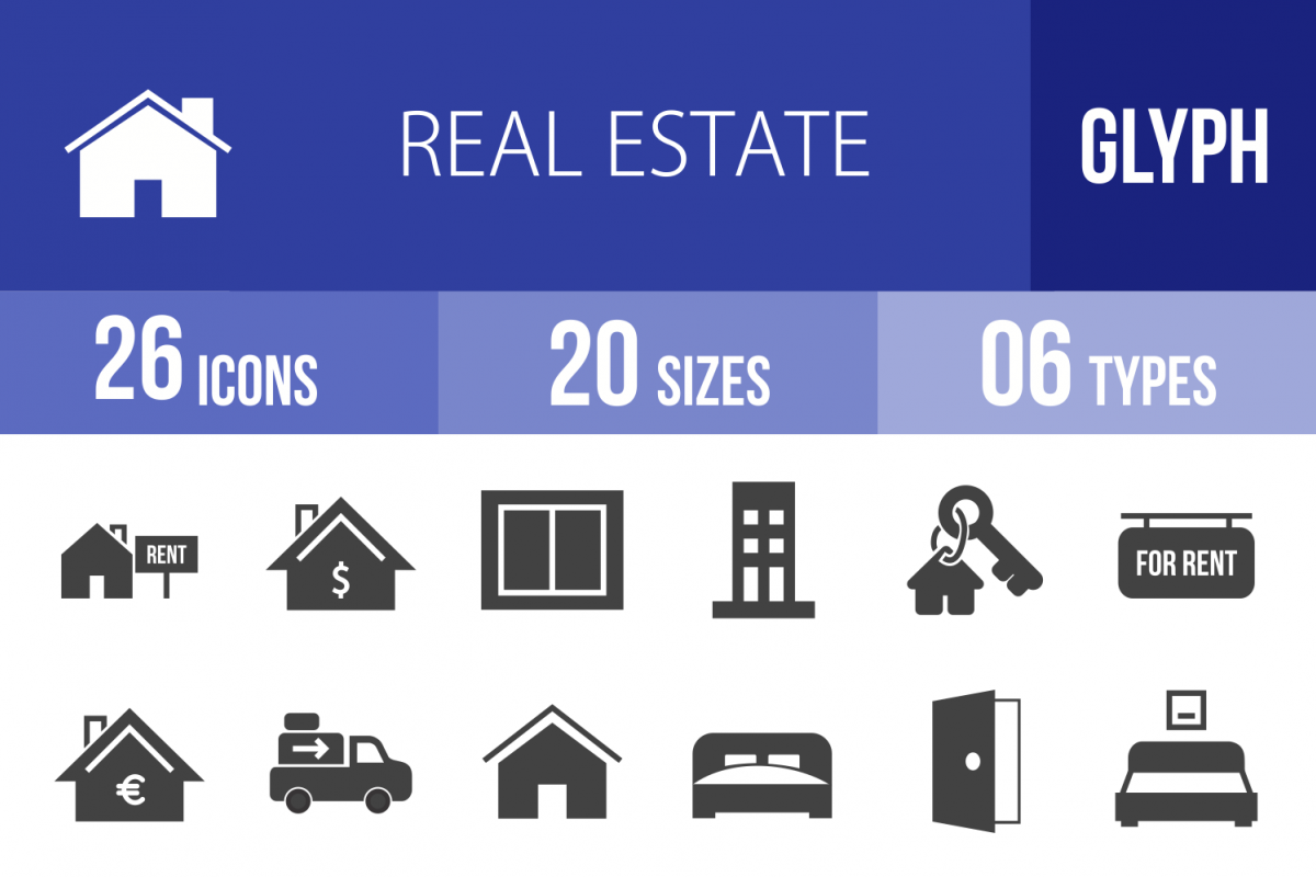 26 Real Estate Glyph Icons example image 1
