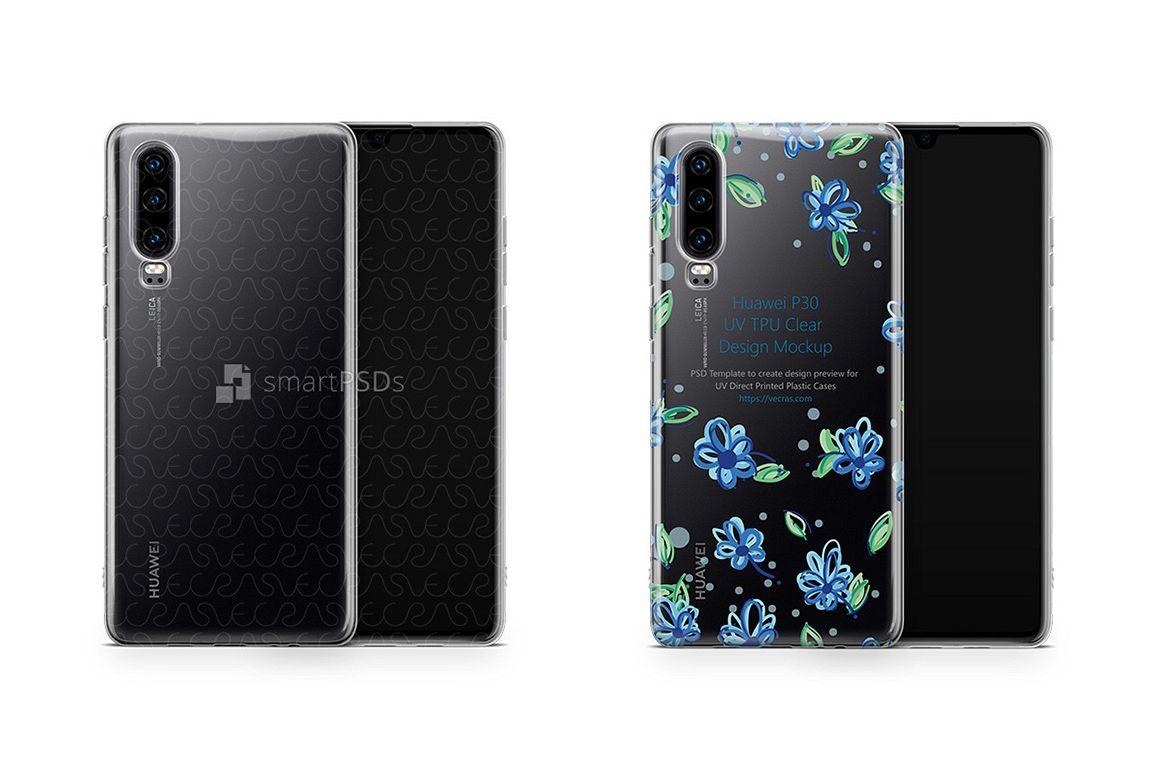 Huawei P30 UV TPU Clear Case Mockup 2019 Flat example image 1