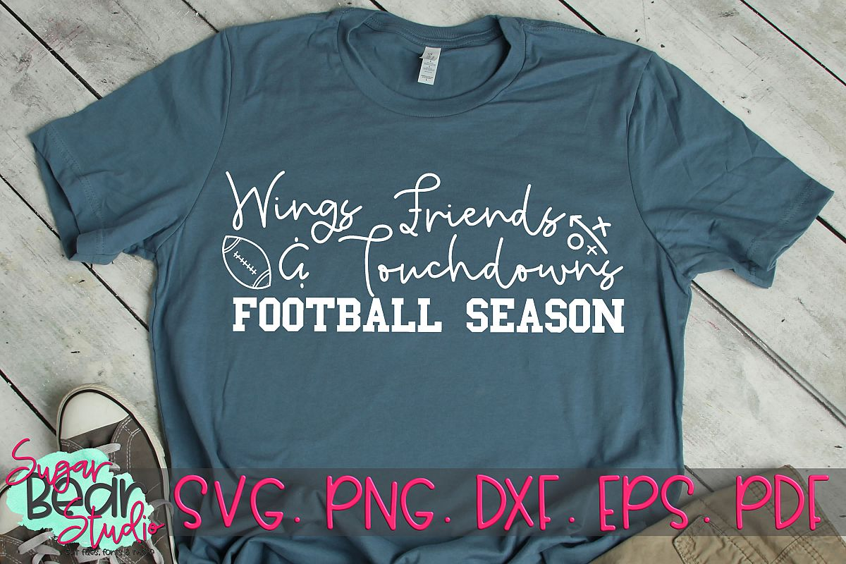 Wings Friends & Touchdowns Football Season - A Football SVG example image 1
