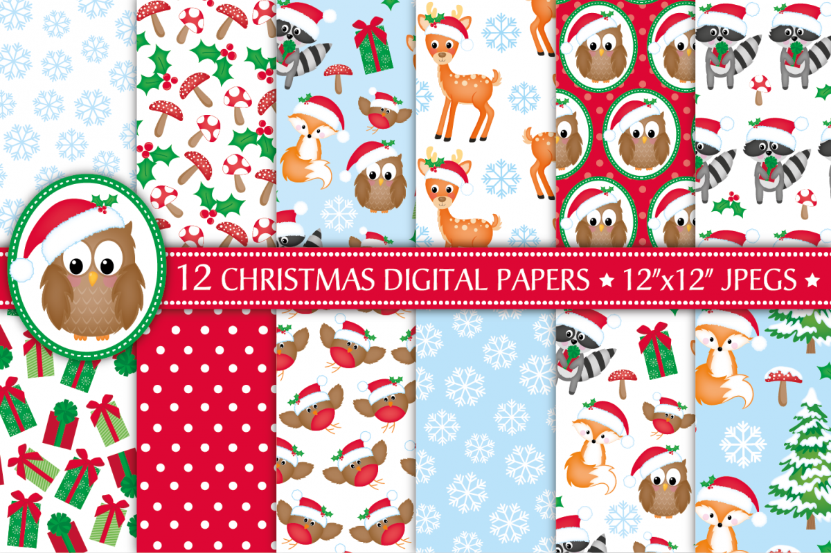 Christmas digital papers, Christmas patterns example image 1