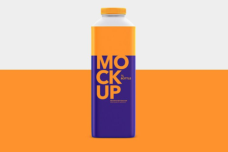 1L Bottle Mockup - Milk or Juice - Mockup example image 1