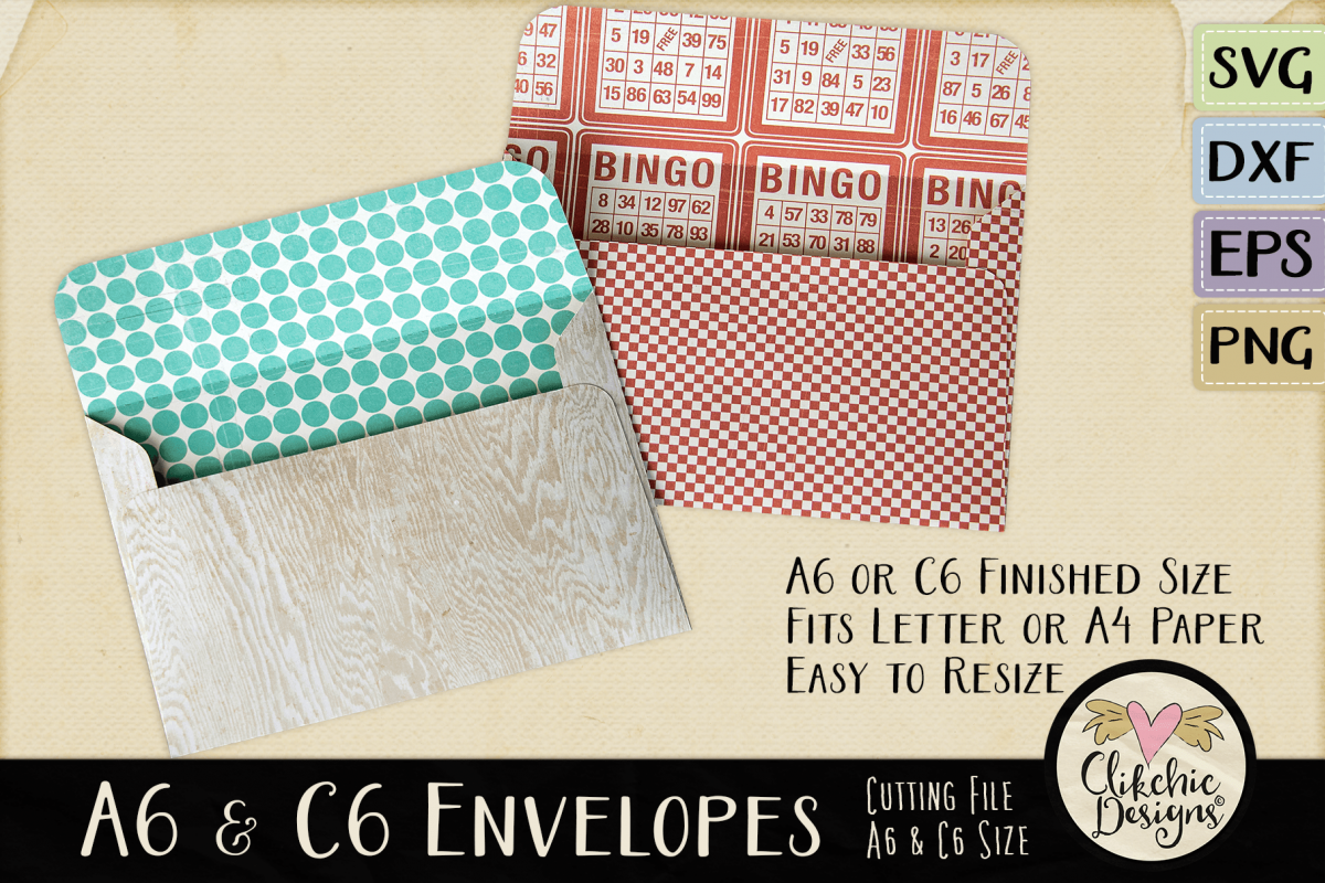 A6 & C6 Envelope SVG - Envelope Cutting File Template example image 1