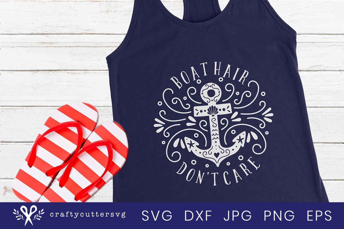 Boat hair don't care Svg Cut File Anchor Clipart example image 1