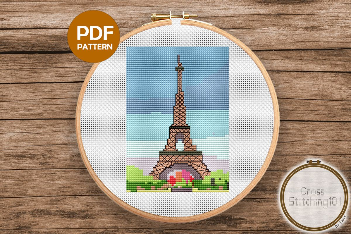 The Eiffel Tower Cross Stitch Pattern - Instant Downlod PDF example image 1