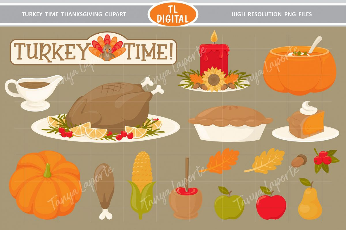 Turkey Time Thanksgiving Dinner Clipart - 18 PNG Graphics example image 1