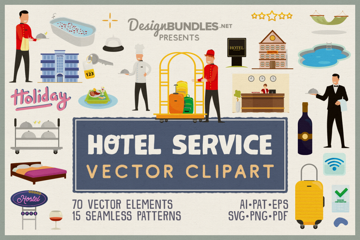 Hotel Service Vector Clipart & Seamless Patterns example image 1
