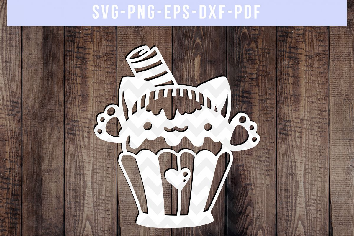 Cat Cupcake Papercut Template, Baking Clipart Scrapbook, PDF example image 1