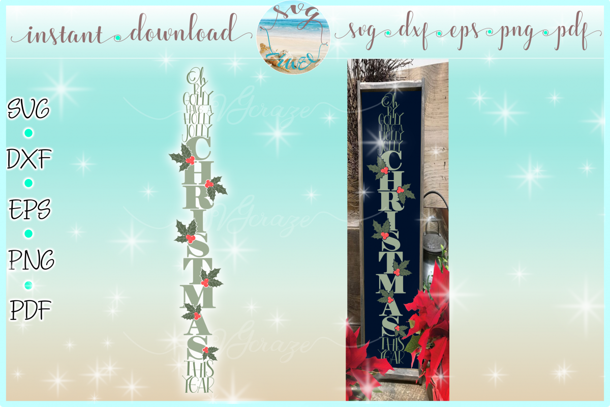 Have A Holly Jolly Christmas Lyrics Tall Vertical Sign SVG example image 1