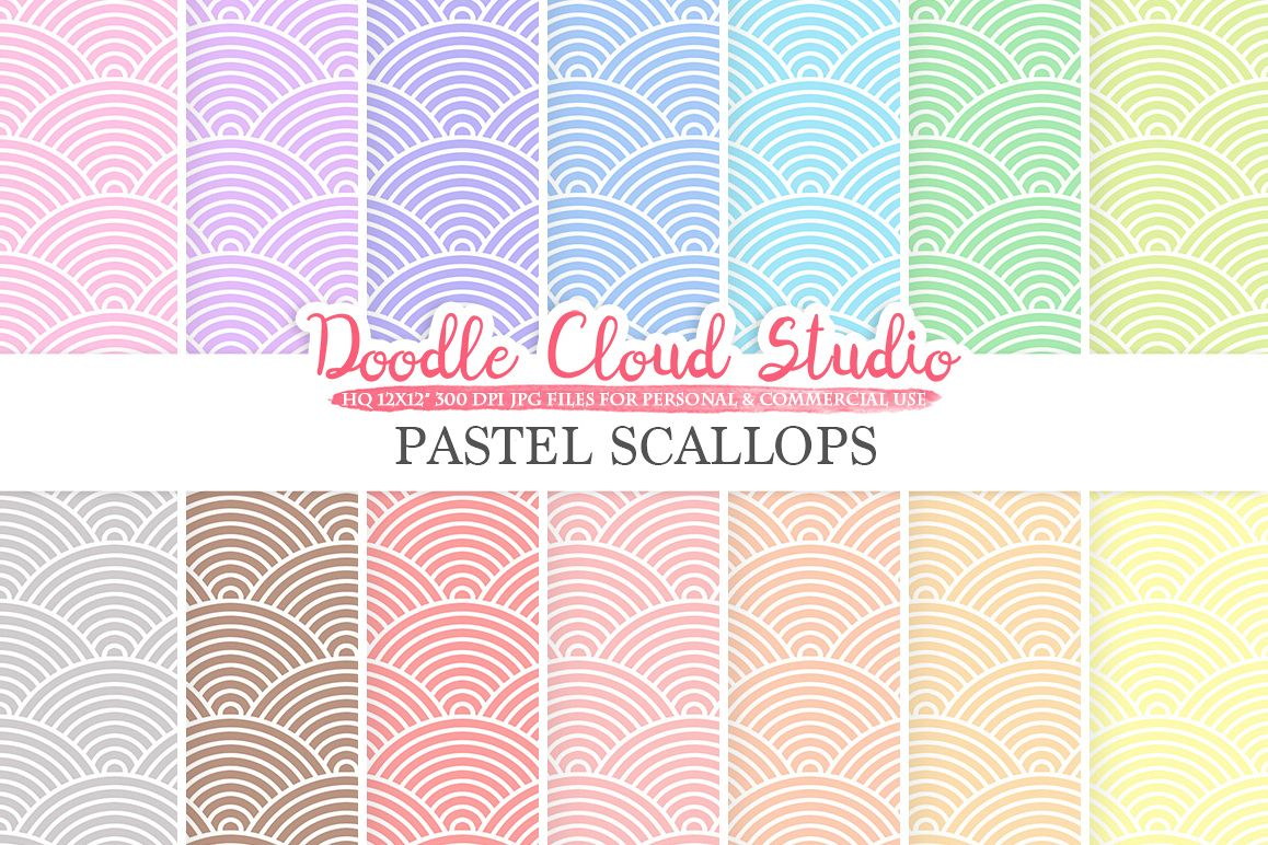 Pastel Scallops digital paper, Japanese patterns, Digital Scallops, pastel colors background, Instant Download for Personal & Commercial Use example image 1