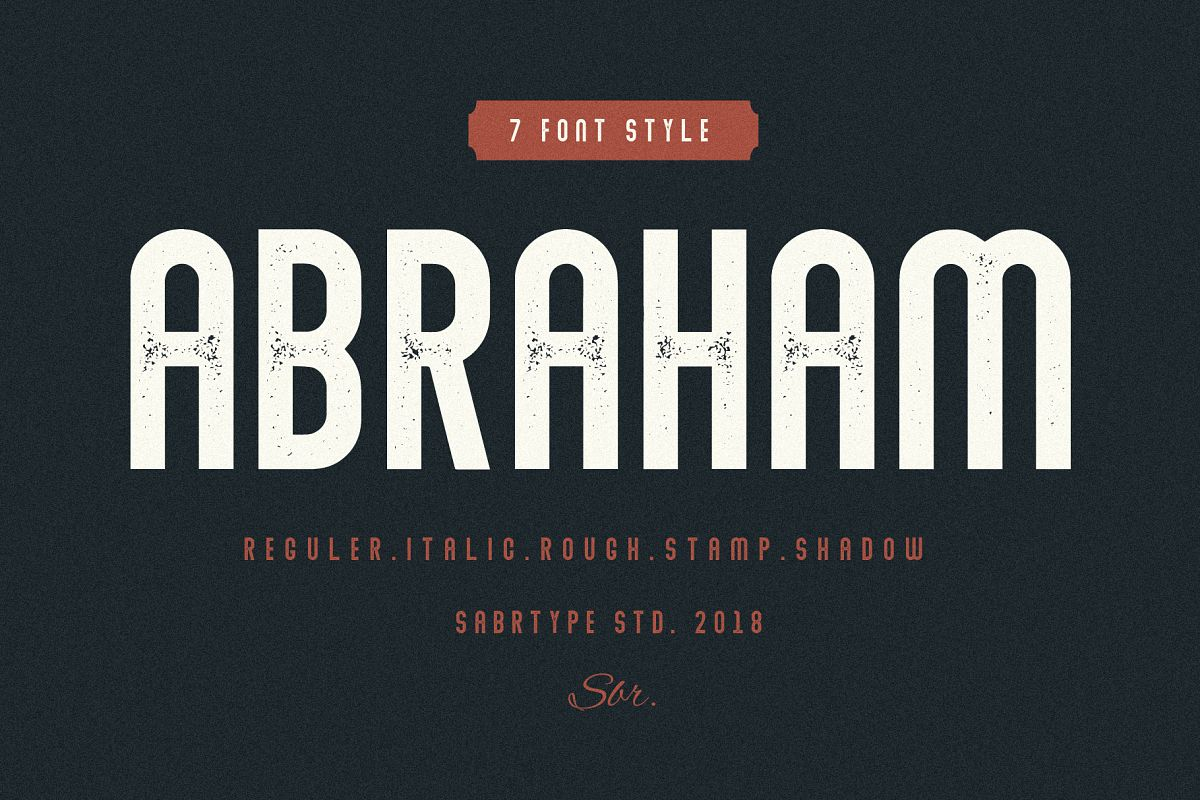 Abraham Font Family 7 Style Fonts