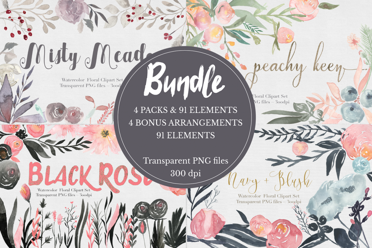Bundle! Watercolor Flower Clipar Set example image 1