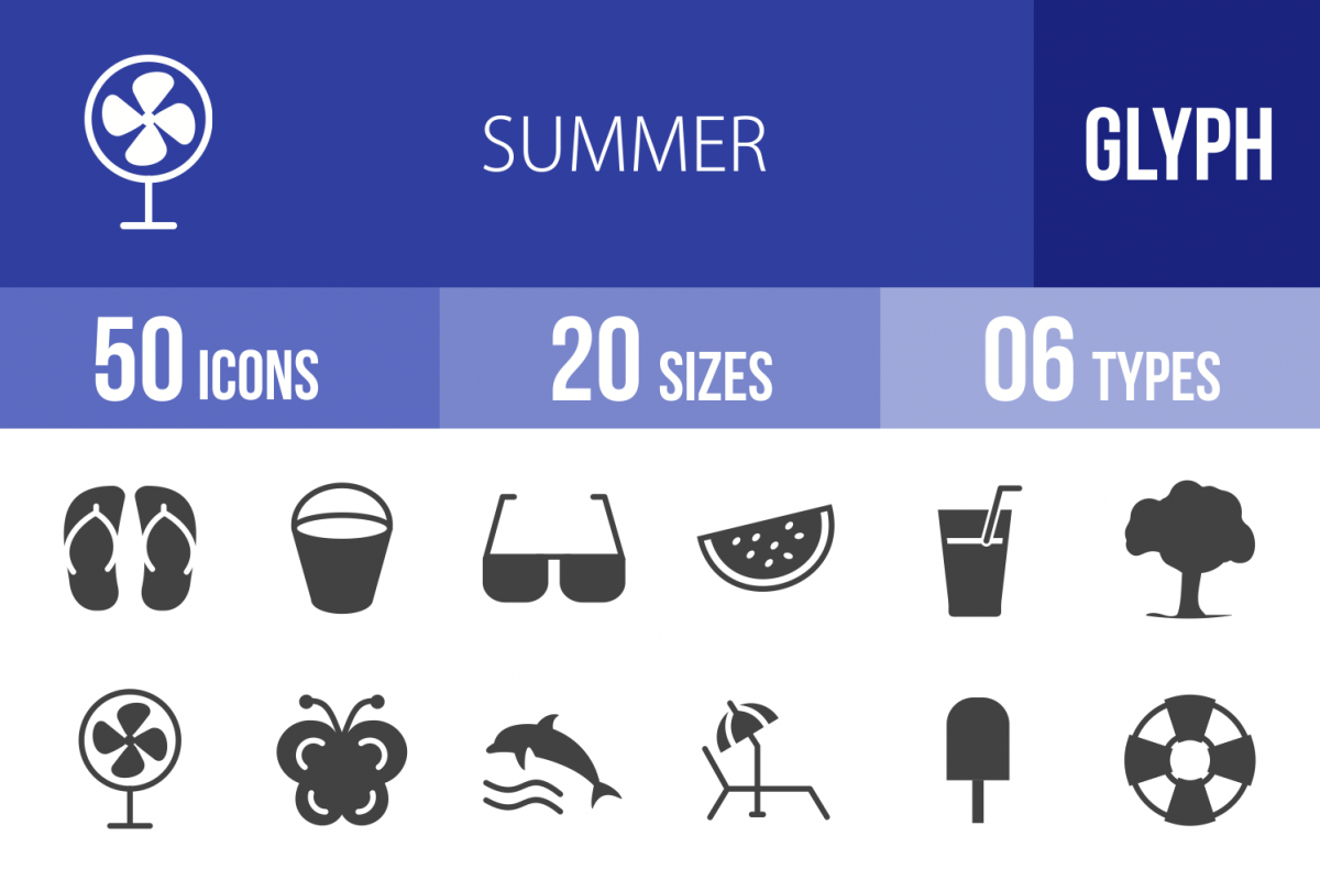 50 Summer Glyph Icons example image 1