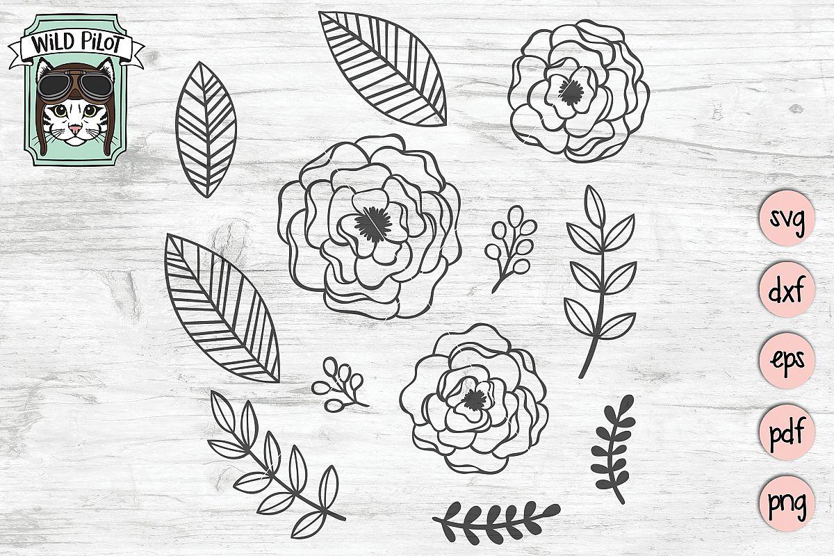 Flowers SVG file, Leaves SVG files, Floral cut file, motifs example image 1