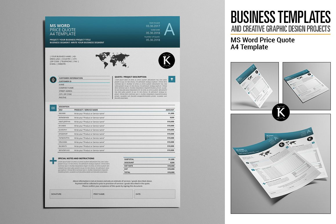 ms word price quote a4 template by kebo design bundles