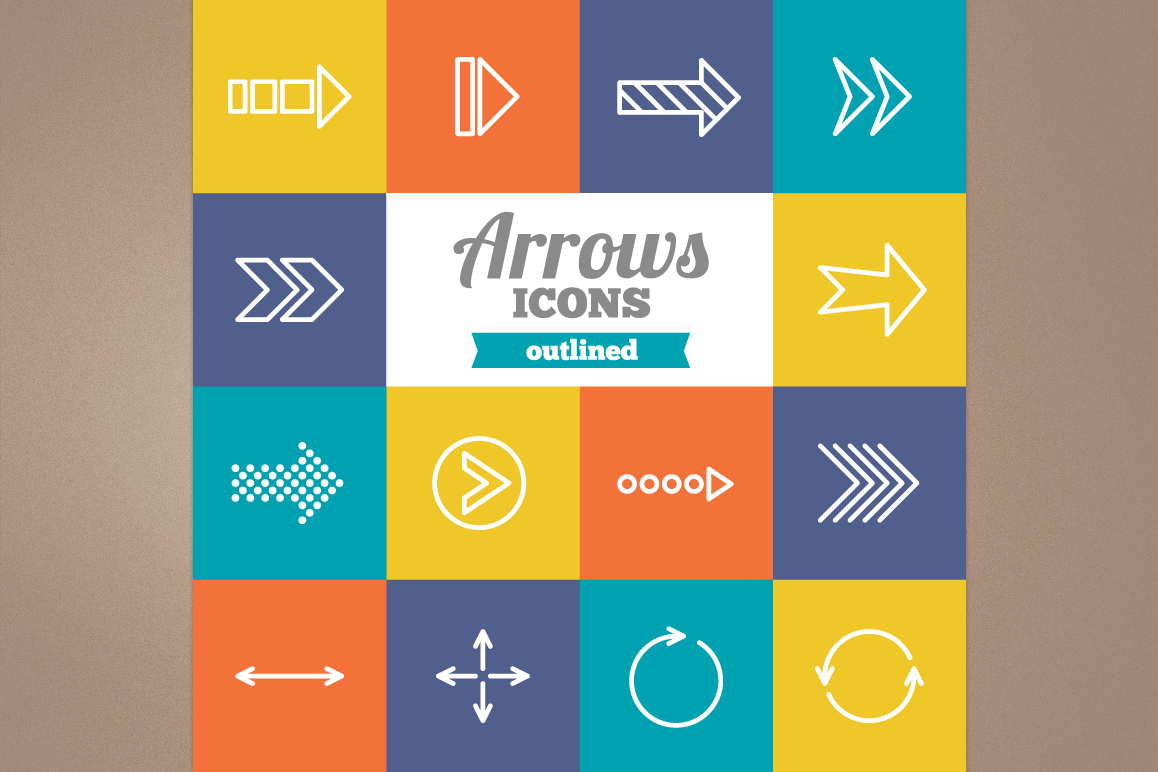 Outlined Arrows Icons example image 1