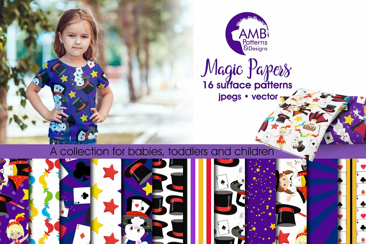 Magic show Digital Papers, Commercial Use, Scrapbook, Backgrounds, AMB-1193 example image 1