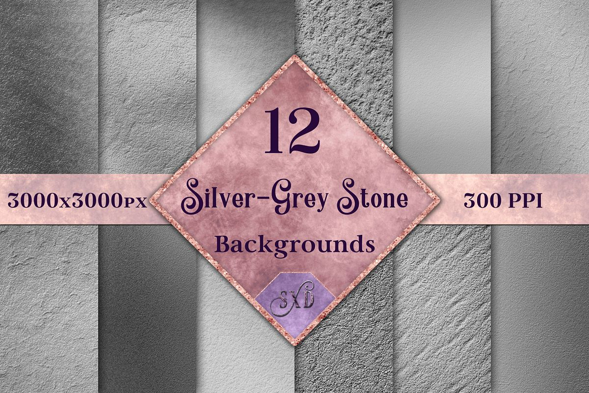 Silver-Grey Stone Backgrounds - 12 Image Textures Set example image 1