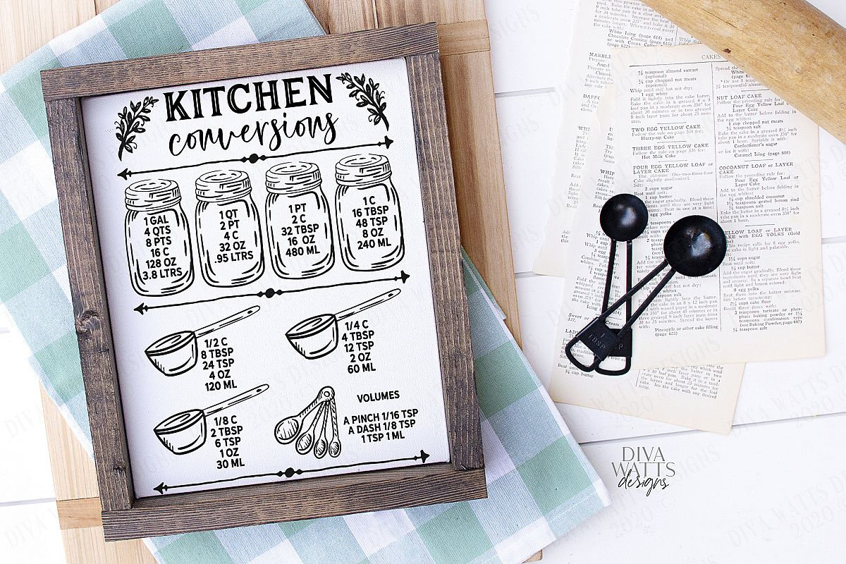 Kitchen Conversions Chart - Cutting File - Printable - SVG example image 1
