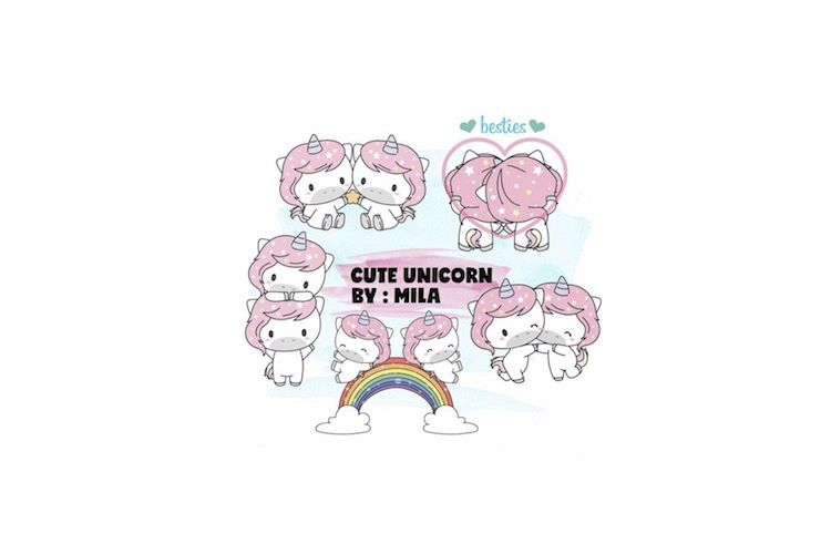 KAWAII UNICORN CLIPART BUNDLE PNG example image 1