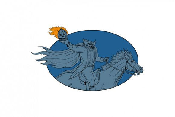 Headless Horseman Pumpkin Head Horse Oval Drawing example image 1