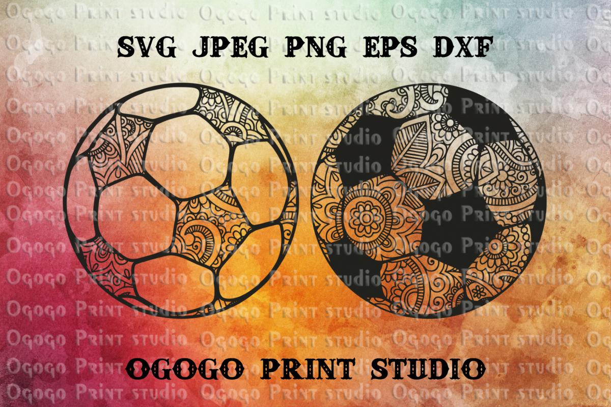 Football SVG, Mandala svg, Zentangle SVG, Soccer svg, Ball example image 1