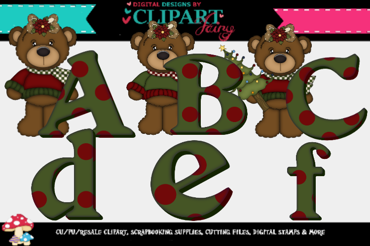 Christmas brown bear girl alpha example image 1