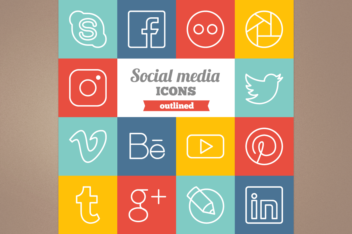 Outlined Social Media Icons example image 1