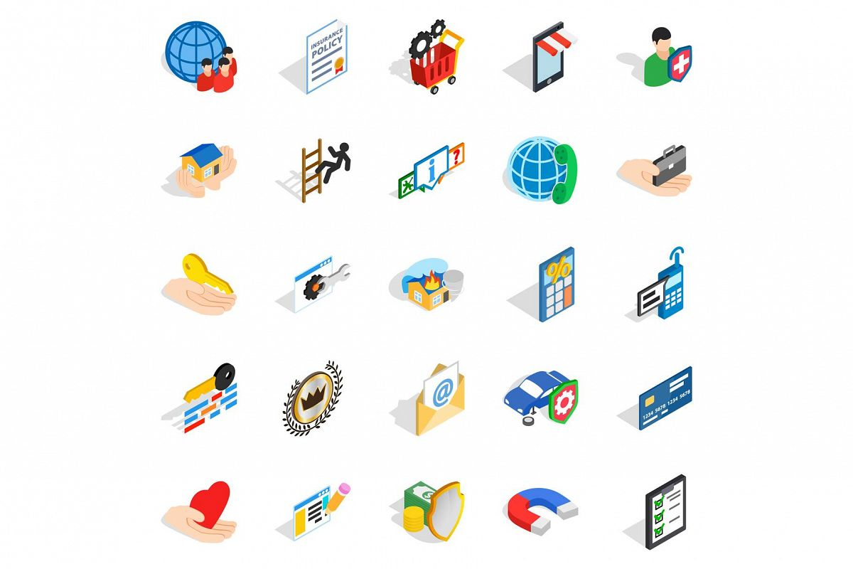Call center icons set, isometric style example image 1