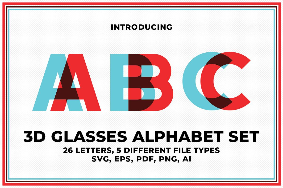3D Glasses Alphabet Set example image 1