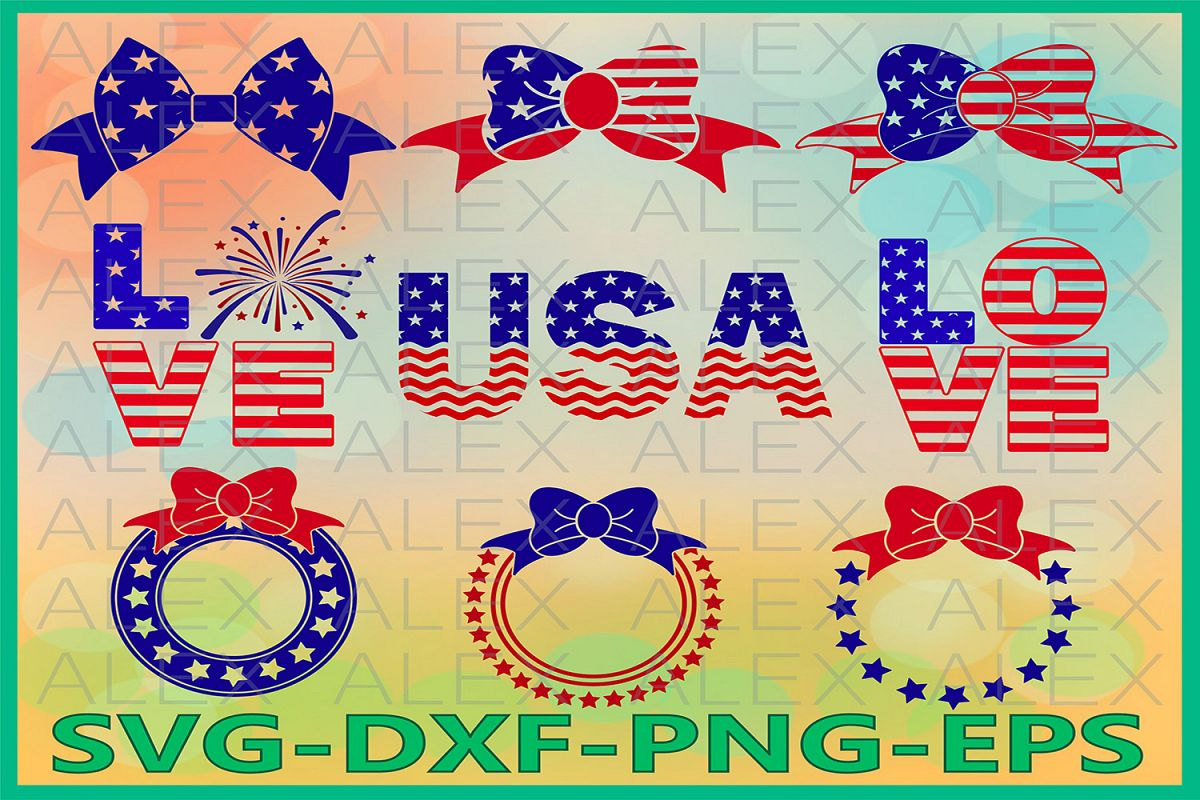 4th of July Svg, Flag Bow SVG, Patriotic Svg, American Svg example image 1