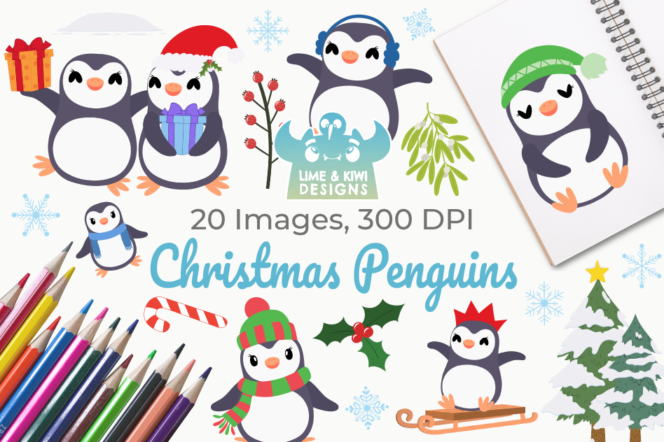 Christmas Penguins Clipart, Instant Download Vector Art example image 1